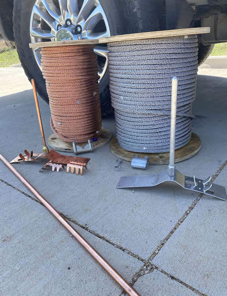 Copper wires to connect lightning protection rods
